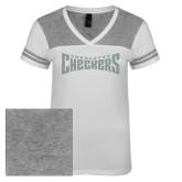 Ladies White/Heathered Nickel Juniors Varsity V Neck Tee-Charlotte Checkers Silver Soft Glitter
