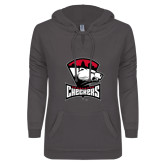 ENZA Ladies Dark Heather V-Notch Raw Edge Fleece Hoodie-Charlotte Checkers - Offical Logo