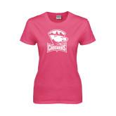 Ladies Fuchsia T Shirt-Charlotte Checkers - Offical Logo