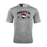 Performance Grey Heather Contender Tee-Arched Charlotte NC Est 2010 Stacked