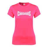 Ladies Performance Hot Pink Tee-Charlotte Checkers