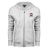 ENZA Ladies White Fleece Full Zip Hoodie-Charlotte Checkers - Offical Logo