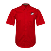 Red Twill Button Down Short Sleeve-Charlotte Checkers - Offical Logo