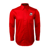 Red Twill Button Down Long Sleeve-Charlotte Checkers - Offical Logo