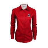Ladies Red Twill Button Down Long Sleeve-Charlotte Checkers - Offical Logo
