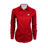 Ladies Red Twill Button Down Long Sleeve-Bear Head w/ Flag