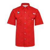 Columbia Bonehead Red Short Sleeve Shirt-Bear Head w/ Flag
