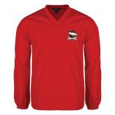 V Neck Red Raglan Windshirt-Charlotte Checkers - Offical Logo