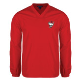 V Neck Red Raglan Windshirt-Bear Head w/ Flag