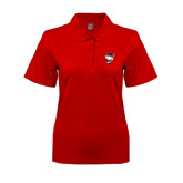 Ladies Easycare Red Pique Polo-Bear Head w/ Flag