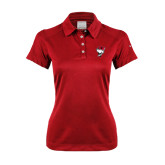 Ladies Nike Dri Fit Red Pebble Texture Sport Shirt-Bear Head w/ Flag