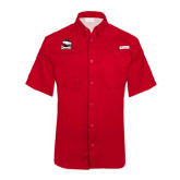 Columbia Tamiami Performance Red Short Sleeve Shirt-Charlotte Checkers - Offical Logo
