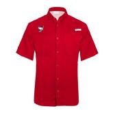 Columbia Tamiami Performance Red Short Sleeve Shirt-Bear Head w/ Flag