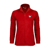 Ladies Fleece Full Zip Red Jacket-Bear Head w/ Flag