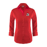 Ladies Red House Red 3/4 Sleeve Shirt-Charlotte Checkers - Offical Logo
