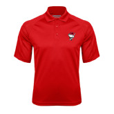 Red Textured Saddle Shoulder Polo-Bear Head w/ Flag