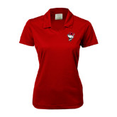 Ladies Nike Golf Dri Fit Red Micro Pique Polo-Bear Head w/ Flag