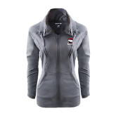 Ladies Sport Wick Stretch Full Zip Charcoal Jacket-Charlotte Checkers - Offical Logo