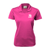 Ladies Nike Golf Dri Fit Fuchsia Micro Pique Polo-Charlotte Checkers - Offical Logo