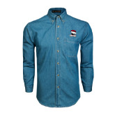 Denim Shirt Long Sleeve-Charlotte Checkers - Offical Logo