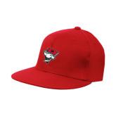 Red OttoFlex Flat Bill Pro Style Hat-Bear Head w/ Flag