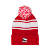 Red/White Two Tone Knit Pom Beanie with Cuff-Charlotte Checkers - Offical Logo