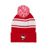 Red/White Two Tone Knit Pom Beanie with Cuff-Bear Head w/ Flag
