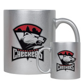 11oz Silver Metallic Ceramic Mug-Charlotte Checkers - Offical Logo