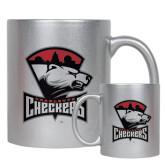 11oz Silver Metallic Ceramic Mug-Charlotte Checkers - Offical Logo