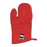 Quilted Canvas Red Oven Mitt-Charlotte Checkers - Offical Logo