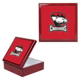 Red Mahogany Accessory Box With 6 x 6 Tile-Charlotte Checkers - Offical Logo