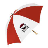 62 Inch Red/White Umbrella-Charlotte Checkers - Offical Logo