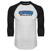 White/Black Raglan Baseball T Shirt-CSUSB Athletics