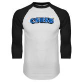 White/Black Raglan Baseball T Shirt-CSUSB