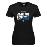 Ladies Black T Shirt-Fear The Coyotes