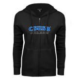 ENZA Ladies Black Fleece Full Zip Hoodie-CSUSB Athletics