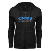 ENZA Ladies Black Fleece Full Zip Hoodie-CSUSB Athletics