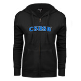 ENZA Ladies Black Fleece Full Zip Hoodie-CSUSB