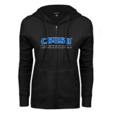 ENZA Ladies Black Fleece Full Zip Hoodie-Basketball