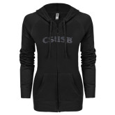ENZA Ladies Black Light Weight Fleece Full Zip Hoodie-CSUSB Graphite Glitter