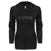 ENZA Ladies Black Light Weight Fleece Full Zip Hoodie-CSUSB Graphite Glitter