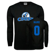 Black Long Sleeve T Shirt-Primary Logo, Custom Tee w/ Name and #