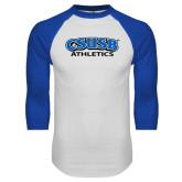 White/Royal Raglan Baseball T Shirt-CSUSB Athletics