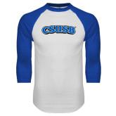 White/Royal Raglan Baseball T Shirt-CSUSB