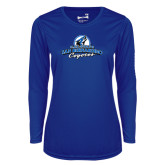 Ladies Syntrel Performance Royal Longsleeve Shirt-Secondary Logo