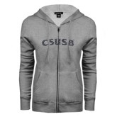ENZA Ladies Grey Fleece Full Zip Hoodie-CSUSB Graphite Glitter