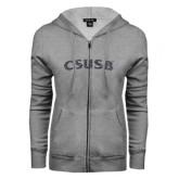 ENZA Ladies Grey Fleece Full Zip Hoodie-CSUSB Graphite Glitter