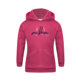Youth Raspberry Fleece Hoodie-Primary Logo Foil
