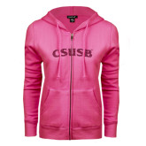 ENZA Ladies Fuchsia Fleece Full Zip Hoodie-CSUSB Hot Pink Glitter