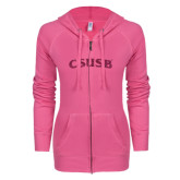 ENZA Ladies Hot Pink Light Weight Fleece Full Zip Hoodie-CSUSB Hot Pink Glitter